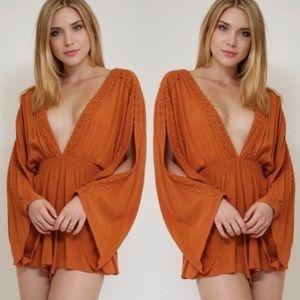 Pants - NWT $90 Deep Plunge Crochet Romper Dress